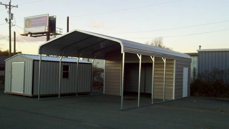 Combo carport the mullet hometown sheds Carport with storage room