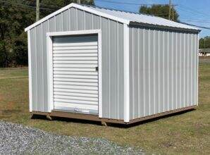 utility shed with roll up door